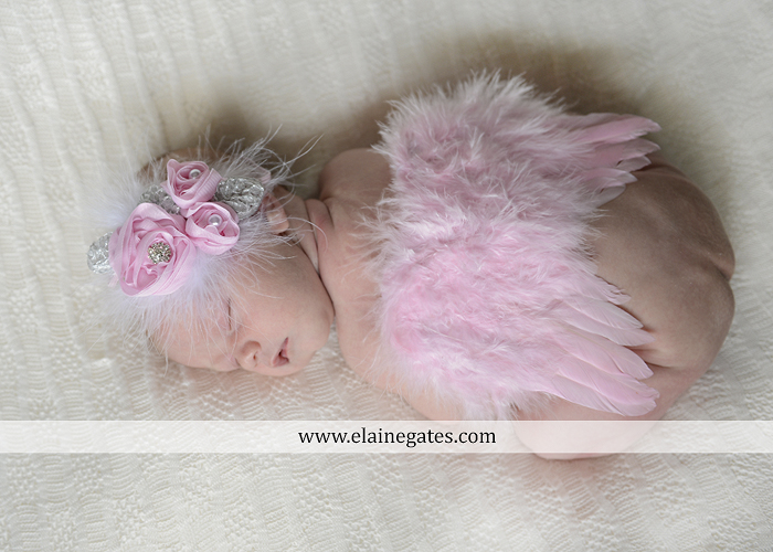 Mechanicsburg Central PA newborn baby portrait photographer girl knit hat bow feathers wings pink blanket mother father field basket sleeping indoor outdoor mr 02