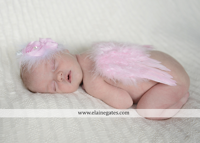 Mechanicsburg Central PA newborn baby portrait photographer girl knit hat bow feathers wings pink blanket mother father field basket sleeping indoor outdoor mr 03