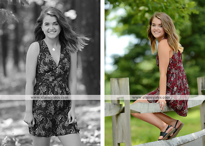 Mechanicsburg Central PA senior portrait photographer outdoor girl female fence trees woods field wooden swing rustic barn door wildflowers black eyed susans grass metal bench 02