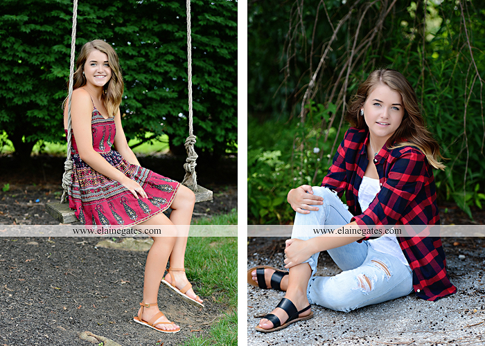 Mechanicsburg Central PA senior portrait photographer outdoor girl female fence trees woods field wooden swing rustic barn door wildflowers black eyed susans grass metal bench 04