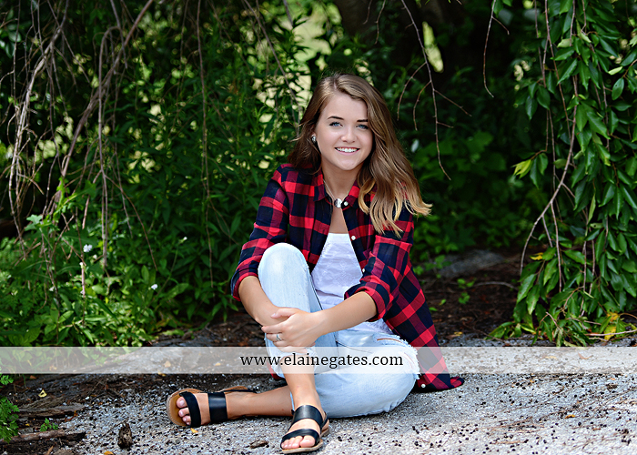 Mechanicsburg Central PA senior portrait photographer outdoor girl female fence trees woods field wooden swing rustic barn door wildflowers black eyed susans grass metal bench 06