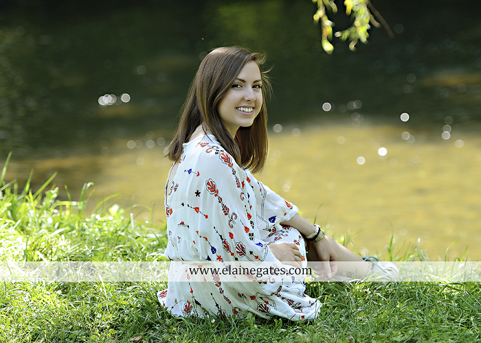Mechanicsburg Central PA senior portrait photographer outdoor girl female grass water stream creek tree fence field road brick wall stone wall sunflowers wildflowers hammock swing bench formal kl 01