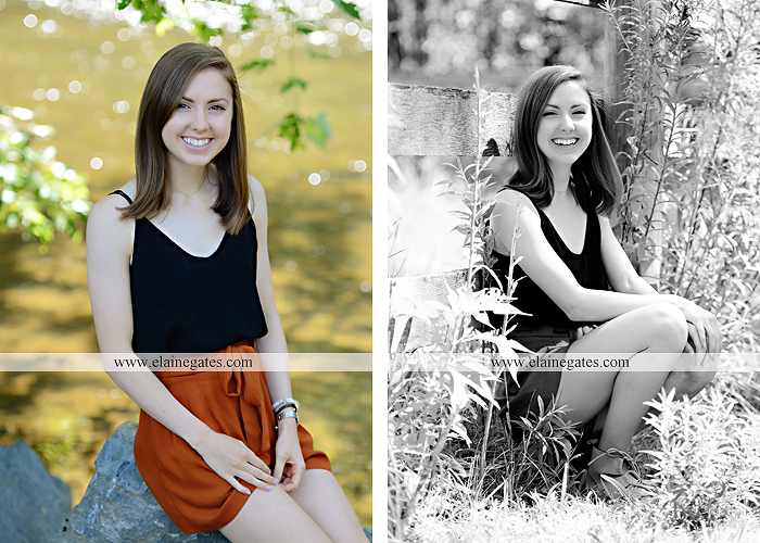 Mechanicsburg Central PA senior portrait photographer outdoor girl female grass water stream creek tree fence field road brick wall stone wall sunflowers wildflowers hammock swing bench formal kl 03