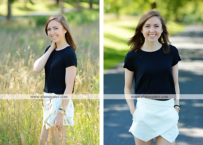 Mechanicsburg Central PA senior portrait photographer outdoor girl female grass water stream creek tree fence field road brick wall stone wall sunflowers wildflowers hammock swing bench formal kl 04