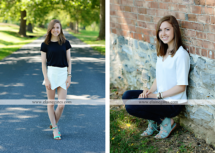 Mechanicsburg Central PA senior portrait photographer outdoor girl female grass water stream creek tree fence field road brick wall stone wall sunflowers wildflowers hammock swing bench formal kl 05