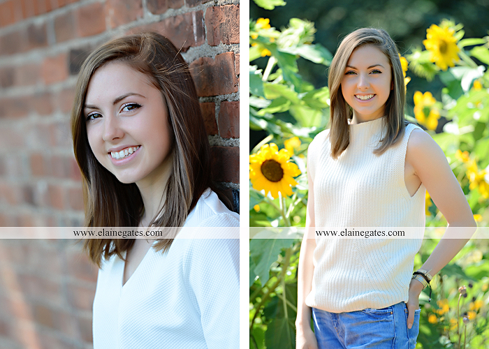 Mechanicsburg Central PA senior portrait photographer outdoor girl female grass water stream creek tree fence field road brick wall stone wall sunflowers wildflowers hammock swing bench formal kl 06