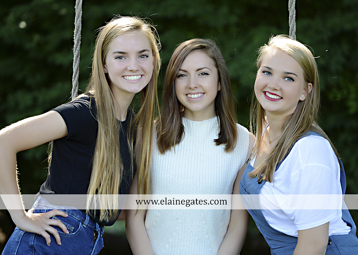 Mechanicsburg Central PA senior portrait photographer outdoor girl female grass water stream creek tree fence field road brick wall stone wall sunflowers wildflowers hammock swing bench formal kl 07