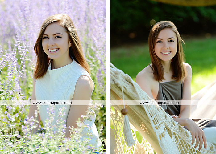 Mechanicsburg Central PA senior portrait photographer outdoor girl female grass water stream creek tree fence field road brick wall stone wall sunflowers wildflowers hammock swing bench formal kl 08