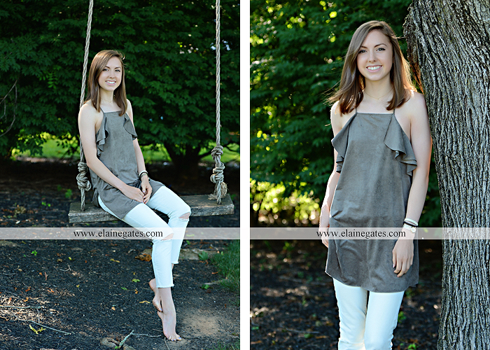 Mechanicsburg Central PA senior portrait photographer outdoor girl female grass water stream creek tree fence field road brick wall stone wall sunflowers wildflowers hammock swing bench formal kl 09