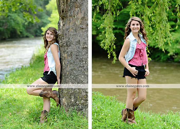 Mechanicsburg Central PA senior portrait photographer outdoor girl female tree grass water creek stream fence field road wildflowers hammock bench dg 01