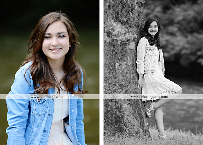 Mechanicsburg Central PA senior portrait photographer outdoor girl female water stream creek fence field formal tree wildflowers hammock wooden swing sl 04