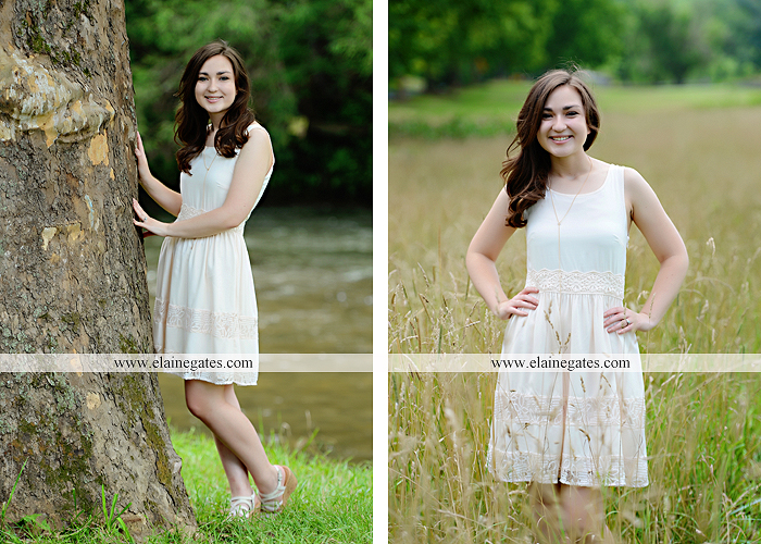 Mechanicsburg Central PA senior portrait photographer outdoor girl female water stream creek fence field formal tree wildflowers hammock wooden swing sl 06