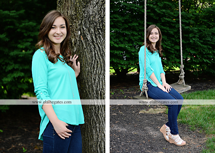Mechanicsburg Central PA senior portrait photographer outdoor girl female water stream creek fence field formal tree wildflowers hammock wooden swing sl 13