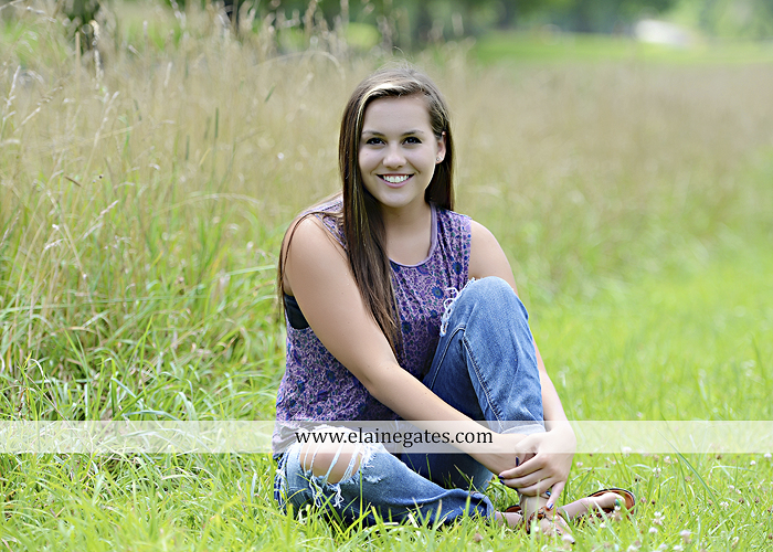 Mechanicsburg Central PA senior portrait photographer outdoor girl female water stream creek fence field road trees sunflowers wildflowers hammock wooden swing hp 05