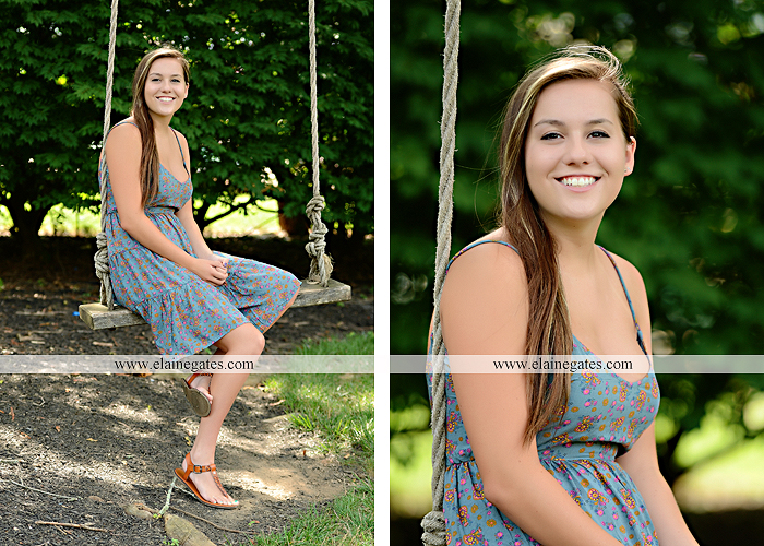 Mechanicsburg Central PA senior portrait photographer outdoor girl female water stream creek fence field road trees sunflowers wildflowers hammock wooden swing hp 12