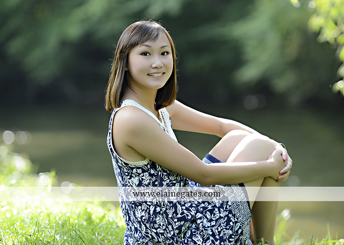 Mechanicsburg Central PA senior portrait photographer outdoor girl female water stream creek grass shore bench rock fence wildflowers road swing tree br 01