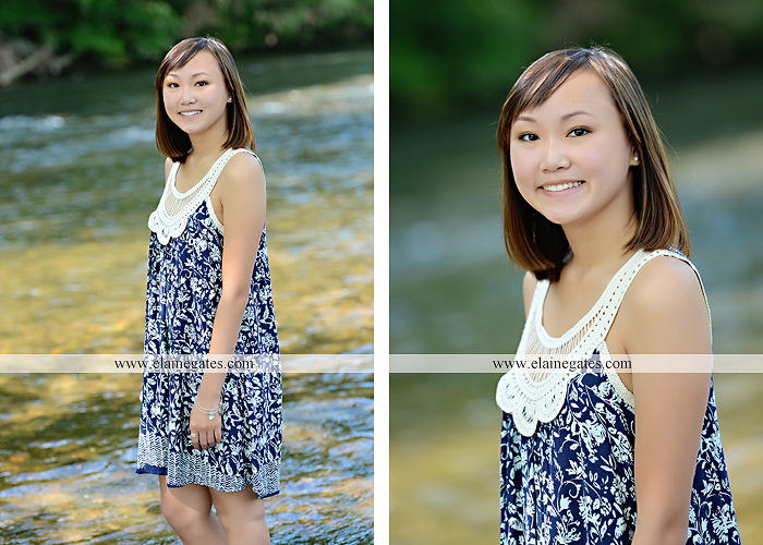 Mechanicsburg Central PA senior portrait photographer outdoor girl female water stream creek grass shore bench rock fence wildflowers road swing tree br 03