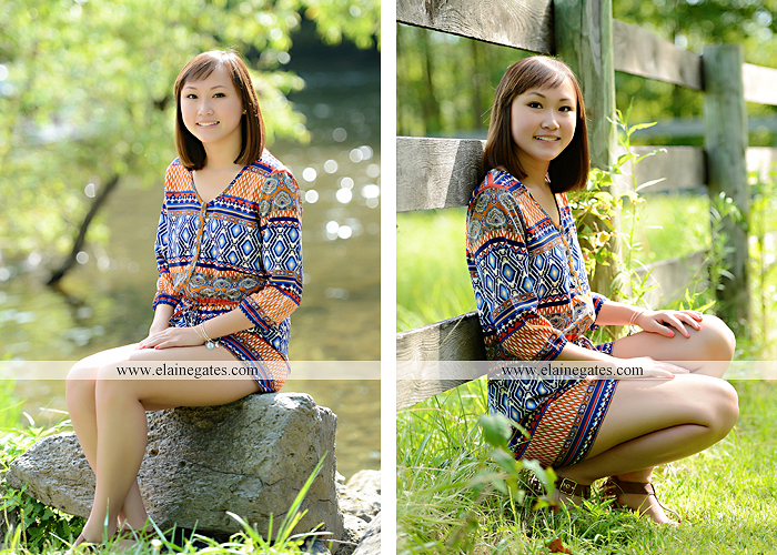 Mechanicsburg Central PA senior portrait photographer outdoor girl female water stream creek grass shore bench rock fence wildflowers road swing tree br 04