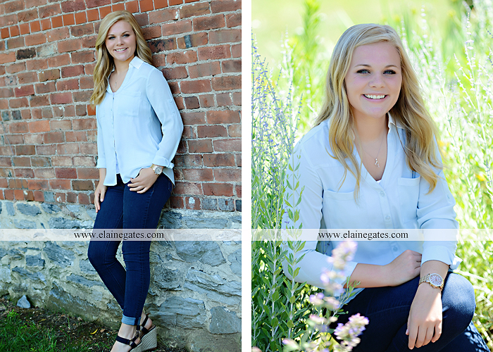 Mechanicsburg Central PA senior portrait photographer outdoor grass formal tree water stream creek fence field american flag usa ford pickup truck road brick wall stone wall wildflowers wooden swing 17