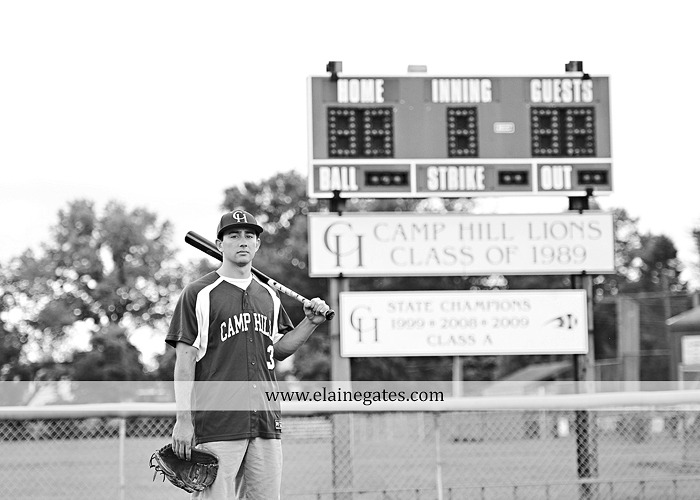 Mechanicsburg Central PA senior portrait photographer outdoor male guy baseball scoreboard dugout bench grass fence path road jd 02