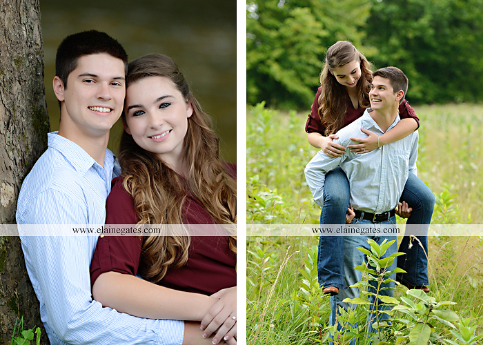 Mechanicsburg Central PA engagement portrait photographer outdoor fence trees field road water stream creek kiss barn farm holding hands nw 01