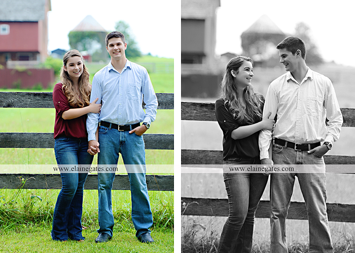Mechanicsburg Central PA engagement portrait photographer outdoor fence trees field road water stream creek kiss barn farm holding hands nw 03