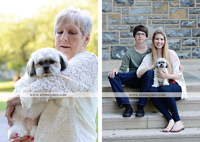 Mechanicsburg Central PA family portrait photographer outdoor carlisle dickinson college mother father sister brother parents dog trees grass stone wall adirondack chair mt 07