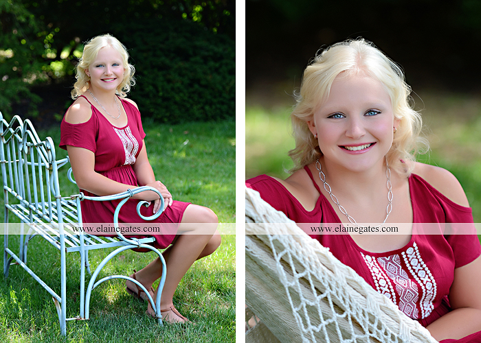 Mechanicsburg Central PA senior portrait photographer outdoor female girl formal swing bench hammock rusted bridge trees covered bridge beams path kk 03