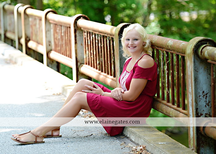 Mechanicsburg Central PA senior portrait photographer outdoor female girl formal swing bench hammock rusted bridge trees covered bridge beams path kk 04