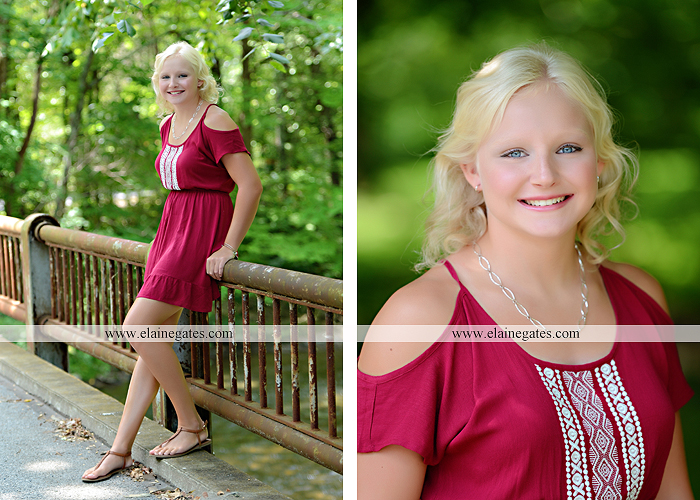 Mechanicsburg Central PA senior portrait photographer outdoor female girl formal swing bench hammock rusted bridge trees covered bridge beams path kk 05