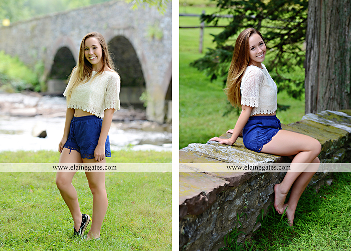 Mechanicsburg Central PA senior portrait photographer outdoor female girl formal wildflowers road field water stream creek bridge stone wall tree shore sister mother rocks fence grass mr 06
