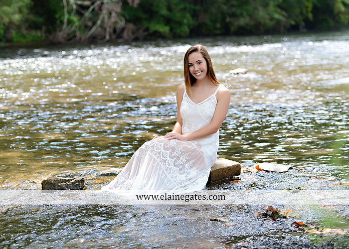 Mechanicsburg Central PA senior portrait photographer outdoor female girl formal wildflowers road field water stream creek bridge stone wall tree shore sister mother rocks fence grass mr 09