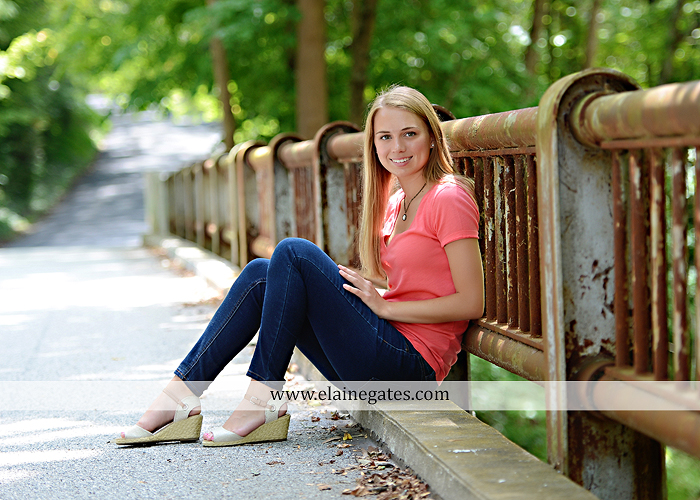 Mechanicsburg Central PA senior portrait photographer outdoor female girl hammock tree rustic bridge road wildflowers rocks water stream creek covered bridge messiah college wood beams path sc 04