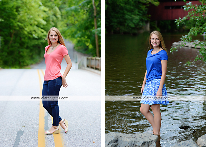 Mechanicsburg Central PA senior portrait photographer outdoor female girl hammock tree rustic bridge road wildflowers rocks water stream creek covered bridge messiah college wood beams path sc 06