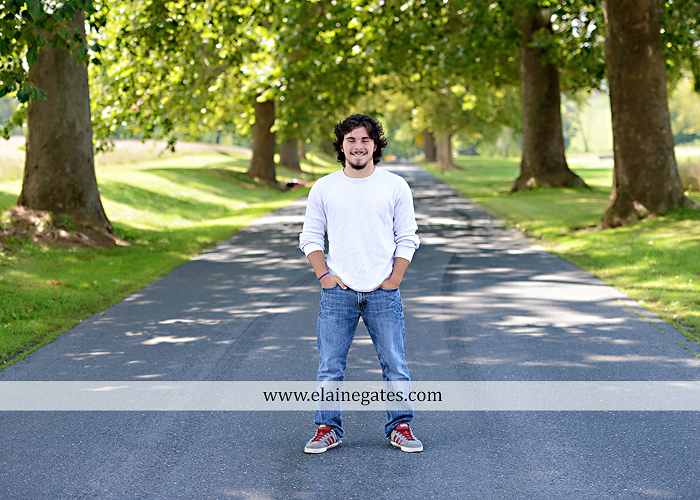 Mechanicsburg Central PA senior portrait photographer outdoor guy male road trees formal field fence water stream creek rock ld 01
