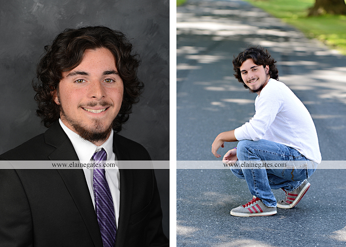 Mechanicsburg Central PA senior portrait photographer outdoor guy male road trees formal field fence water stream creek rock ld 02