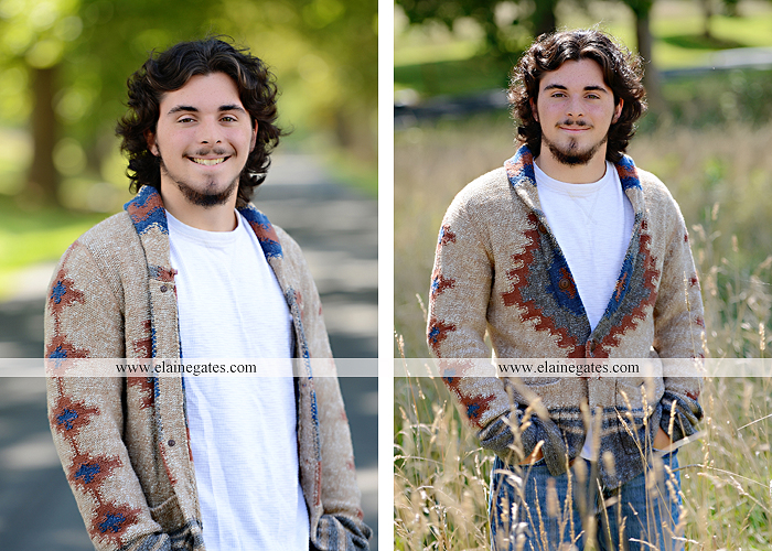 Mechanicsburg Central PA senior portrait photographer outdoor guy male road trees formal field fence water stream creek rock ld 03