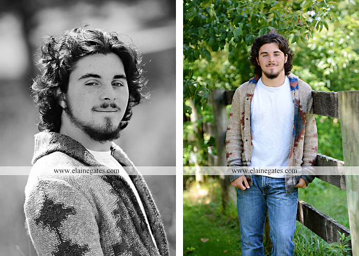 Mechanicsburg Central PA senior portrait photographer outdoor guy male road trees formal field fence water stream creek rock ld 04