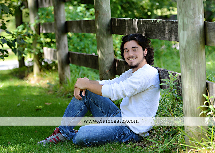 Mechanicsburg Central PA senior portrait photographer outdoor guy male road trees formal field fence water stream creek rock ld 05