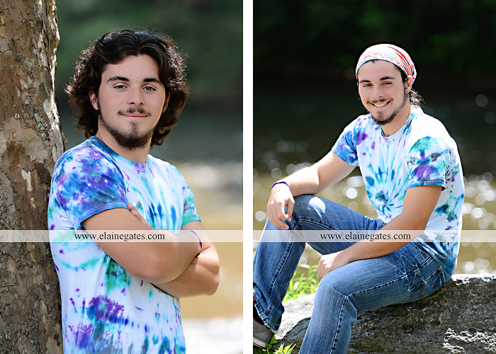 Mechanicsburg Central PA senior portrait photographer outdoor guy male road trees formal field fence water stream creek rock ld 06