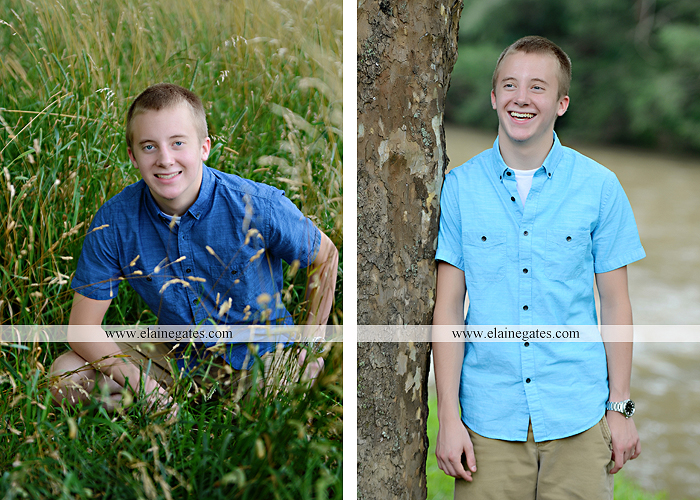 Mechanicsburg Central PA senior portrait photographer outdoor male guy tree grass dog road sister field water stream creek fence american flag usa wrestling singlet zk 06