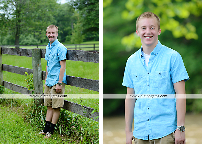 Mechanicsburg Central PA senior portrait photographer outdoor male guy tree grass dog road sister field water stream creek fence american flag usa wrestling singlet zk 08