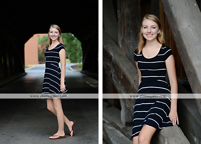 Mechanicsburg Central PA senior portrait photographer outdoor water stream creek covered bridge messiah college wooden beams field rustic bridge road wildflowers hammock swing formal es 05