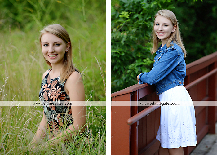 Mechanicsburg Central PA senior portrait photographer outdoor water stream creek covered bridge messiah college wooden beams field rustic bridge road wildflowers hammock swing formal es 06