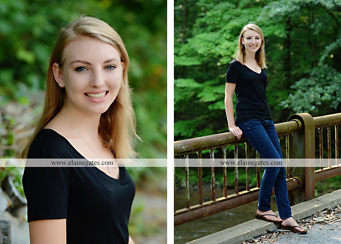 Mechanicsburg Central PA senior portrait photographer outdoor water stream creek covered bridge messiah college wooden beams field rustic bridge road wildflowers hammock swing formal es 07