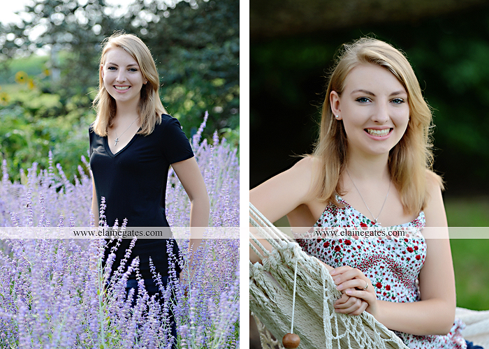 Mechanicsburg Central PA senior portrait photographer outdoor water stream creek covered bridge messiah college wooden beams field rustic bridge road wildflowers hammock swing formal es 08