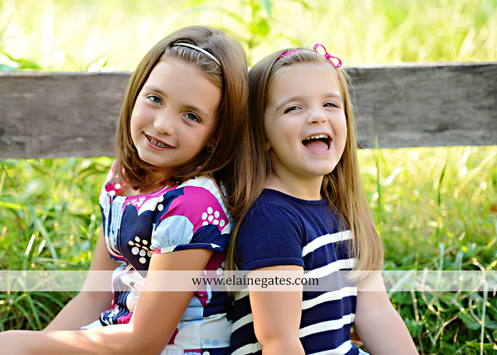 Mechanicsburg Central PA kids children portrait photographer outdoor girls sisters fence grass field trees water stream creek rocks road hay bail sh 01