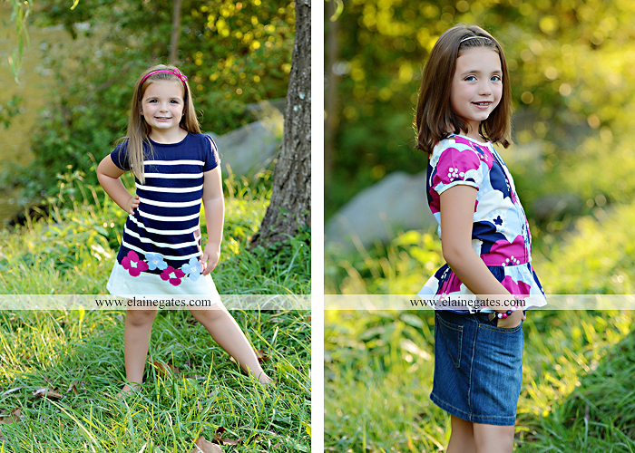 Mechanicsburg Central PA kids children portrait photographer outdoor girls sisters fence grass field trees water stream creek rocks road hay bail sh 07