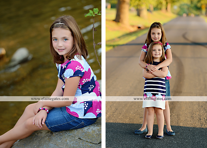 Mechanicsburg Central PA kids children portrait photographer outdoor girls sisters fence grass field trees water stream creek rocks road hay bail sh 10