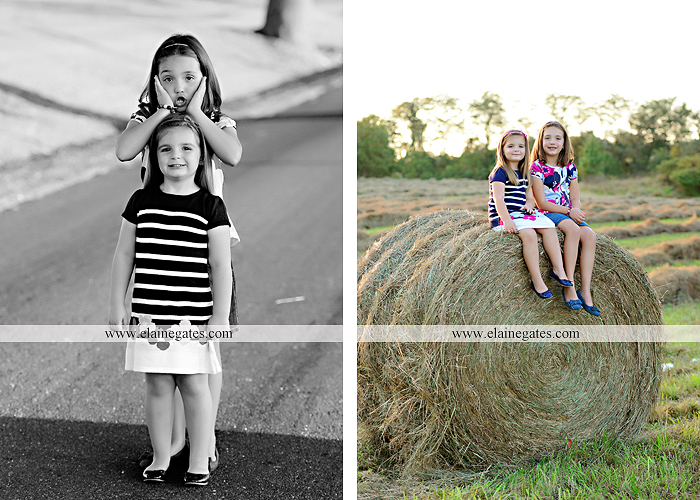 Mechanicsburg Central PA kids children portrait photographer outdoor girls sisters fence grass field trees water stream creek rocks road hay bail sh 11